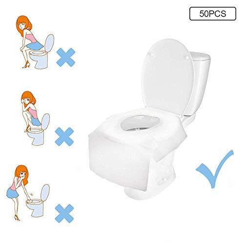 50 X Einweg-WC-Sitzbezüge, antibakteriell, wasserdicht, tragbar, für Kinder, Schwangere Reisen, Krankenhaus, öffentliche Toiletten, Hotels, einzeln verpackt, Taschengröße