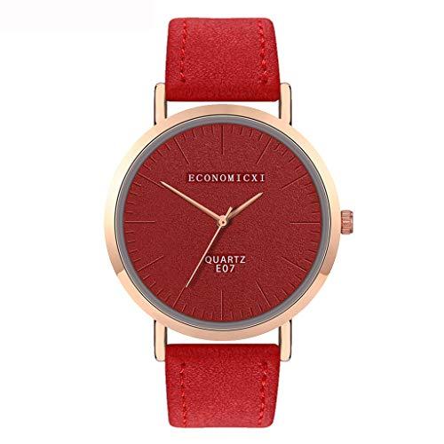 jieGorge Damen-Armbanduhr, modisch, Lederband, analog, rund, Quarz, kompakt, Rot