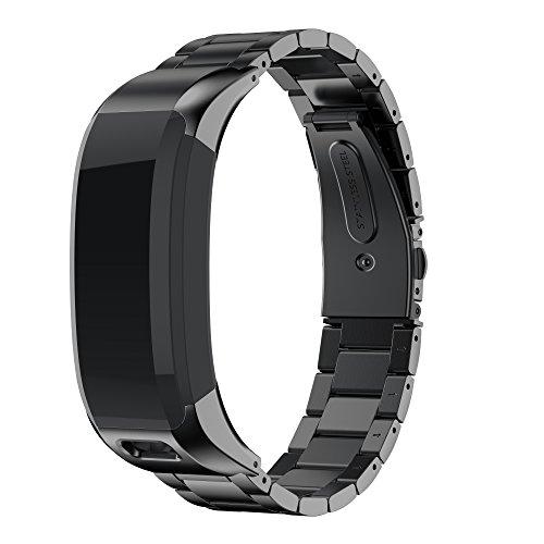 NotoCity Compatible con Correa Vivosmart HR Ajustable Pulsera de Repuesto Acero Inoxidable (Negro)
