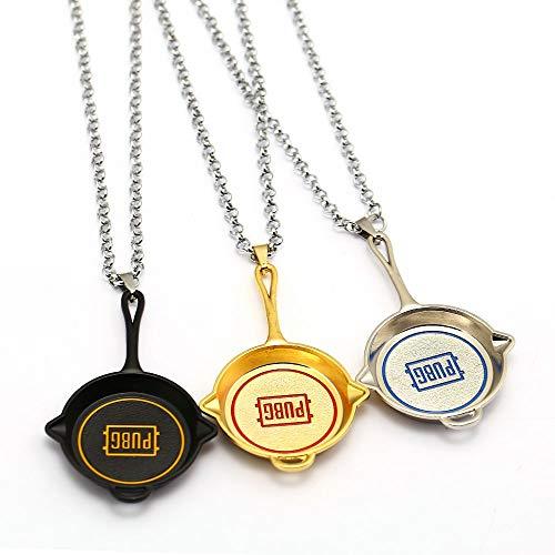 DTKJ New Pubg Bratpfanne Halskette Metall Anhänger Mode Gliederkette Halsketten Playerunknown'S Schlachtfelder Geschenke Charme Schmuck 3 Stücke