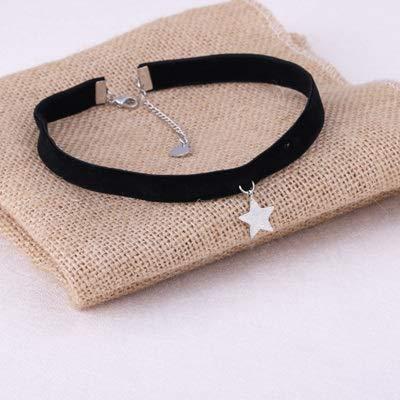 weichuang 1 collar con colgante de estrella de alambre de terciopelo negro coreano con cuerda de collar para mujer (metal chapado en plata).