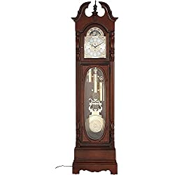 Howard Miller Robinson Floor Clock 611-042 – Cherry Bordeaux Home Decor, Grandfather Timepiece with Cable-Driven Triple-Chime Movement