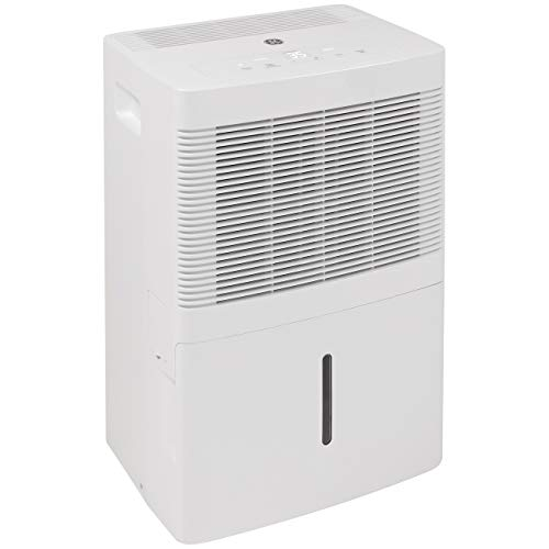GE ADEW20LY Portable Compact Multi Speed Electric Home Dehumidifier with Auto Defrost, 20 Pints Per Day, White, Refurbished