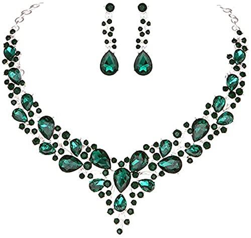 KUNHAN Juegos de Joyas Mujer Joyería de la Hoja de la Flor de la Boda Aperitivos Claire Crystal Tone D Silver Gemstone Collar de Boda-Verde