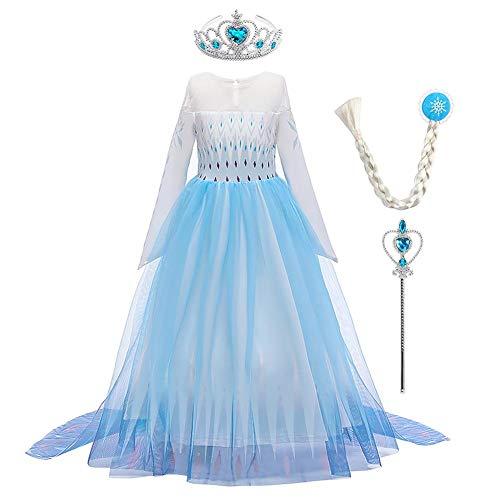 OBEEII Mädchen Prinzessin Elsa Kostüme Frozen 2 Karneval Kleid Cosplay Halloween Weihnachten Party Verkleidung Kostüm 2-14 Jahre Gr. 5-6 Jahre, Blau+Zubehör01