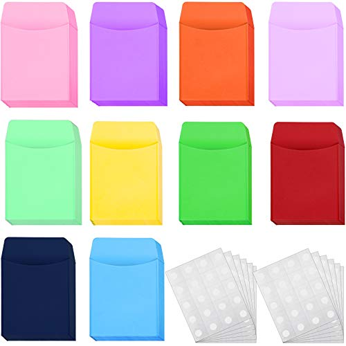 100 Pieces Library Card Envelope Colorful Small Packet Envelope Library Card Pocket with 12 Sheets Removable Adhesive Dot for Public Library School Office (Multi-Color)