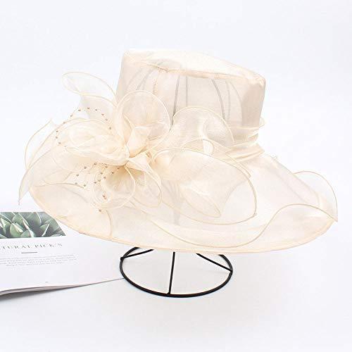 JFHGNJ Frauen Fascinator Bridal Tea Party Hochzeitshut Damen Weibliche Fedoras Solid Color Nette Mode Outdoor Cap-Beige_0