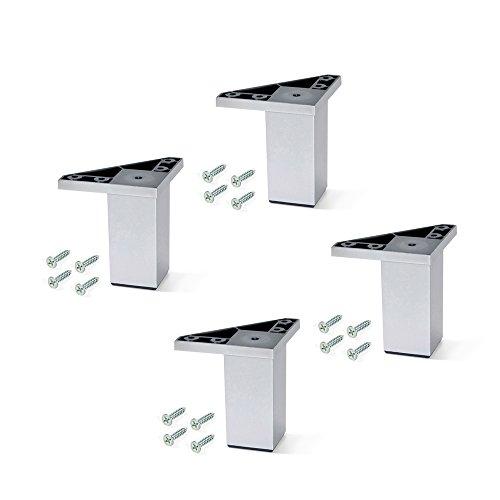 Emuca set van 4 voeten met montageschroeven voor meubels/kast/bed van aluminiumkleurig kunststof, 80 mm H 80mm Peint Aluminium