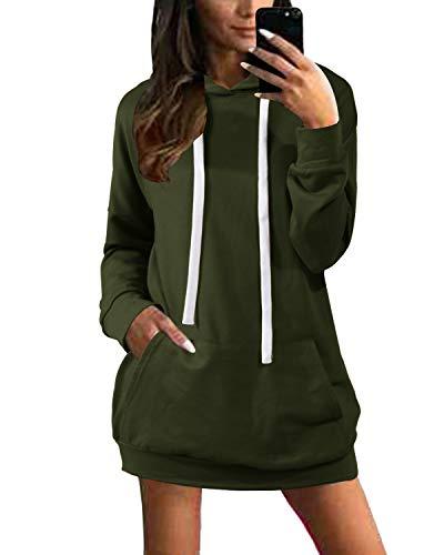 YOINS Damen Langer Kapuzenpullover Hoodie Pullover mit Kapuze Pulli Kleider Strickjacke Lange Tops Mantel Langarm Sweatshirt Aktualisierung-Army Green S