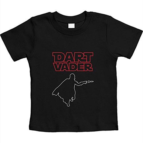 Dart Vader - Cooles Motiv für kleine Darts Fans Unisex Baby T-Shirt Gr. 66-93 12-18 Monate / 86 Schwarz
