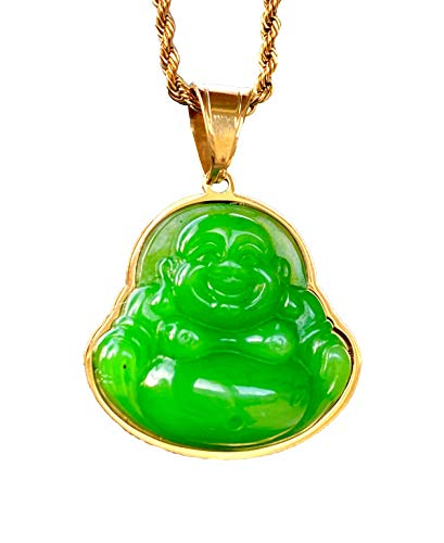 Mens Laughing Buddha Green Jade Pendant Necklace Rope Chain Genuine Certified Grade A Jadeite Jade Hand Crafted, Jade Necklace, 14k Gold Filled Laughing Jade Buddha Necklace, Jade Medallion (16' Necklace)