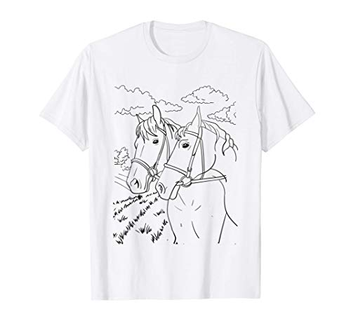 Pferde Tiere Bild Ausmalen, Bemalen, zeichnen und Anmalen T-Shirt