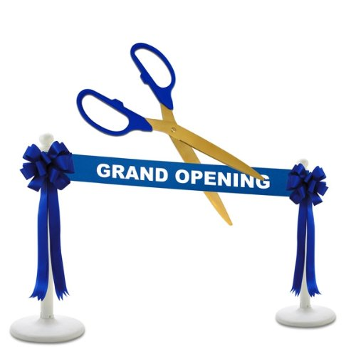 """Deluxe Grand Opening Kit - 25"""" Blue/Gold Ceremonial Ribbon Cutting Scissors with 5 Yards of 6"""" Royal Blue Grand Opening Ribbon, 2 Royal Blue Bows and 2 White Plastic Stanchions"""