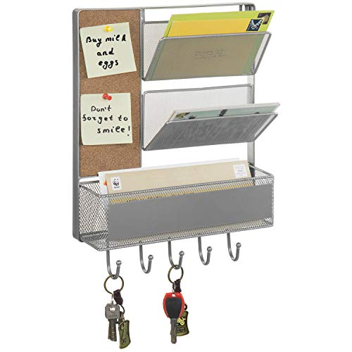 MyGift 2-Slot Wall Mounted Silver Metal Mesh Mail Sorter with Storage Basket, Cork Board, and 5 Key Hooks
