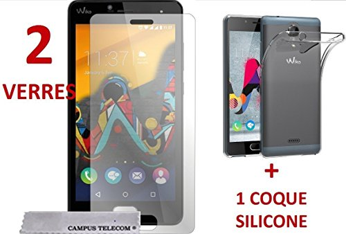 2 Verres Vitres Films de protection écran + 1 coque gel silicone Wiko U-Feel Lite by Campus Telecom®