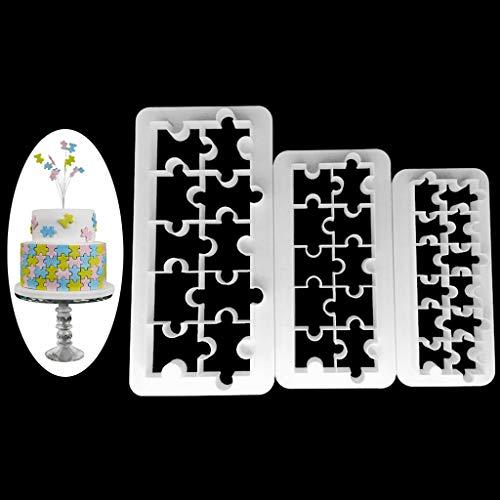 SimpleLife 3 Pezzi Torta taglierine Fondente Strumenti di Cioccolato Biscotto Puzzle Strumento di Stampo in plastica