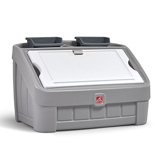 Step2 2-in-1 Toy Box & Art Lid | Plastic Toy & Art Storage Container, Grey