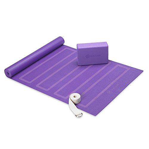 Gaiam Beginner Yoga Kit (Yoga Matte, Yoga Block, Yoga Strap), Lila
