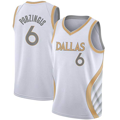 HZHEN NBA Jersey Kristaps Porzingis # 6 Dallas Mavericks Basketball Jerseys, Unisex Sin Mangas Bordado Swing Swing T-Shirt Top,1,L (175~180CM / 75~85KG)