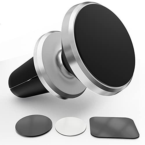 Auto Handyhalterung KFZ Halterung Auto Magnet Lüftung Magnetische Autohalterung kompatibel mit iPhone 12 12 mini 11 Pro XS XR 5s 6s 7 8, Galaxy S21 S20 S10 S9 S8, Redmi Note 8 Pro Note 9 Pro - Silber