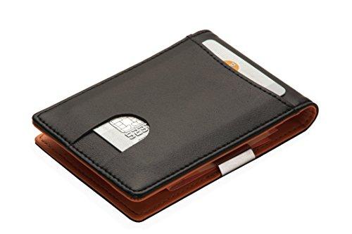 Geldklammer für Herren mit Geldclip | 4 Kartenfächer | Kreditkartenetui Schwarz | ultradünn | ohne Münzfach | Geldspange | Dollerclip