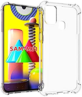 For Samsung Galaxy M31 Case, [Bumper] Exculsive Silicon Transparent With Anti Dust Plugs Shockproof Slim Back Cover Case F...