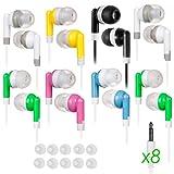 8 Pack Ear Buds for Kids Classroom Headphones Earbuds School Earphones Bulk Bud Set Color Small Size Wholesale lot Best fit chromebook Laptop Study Zoom Phones