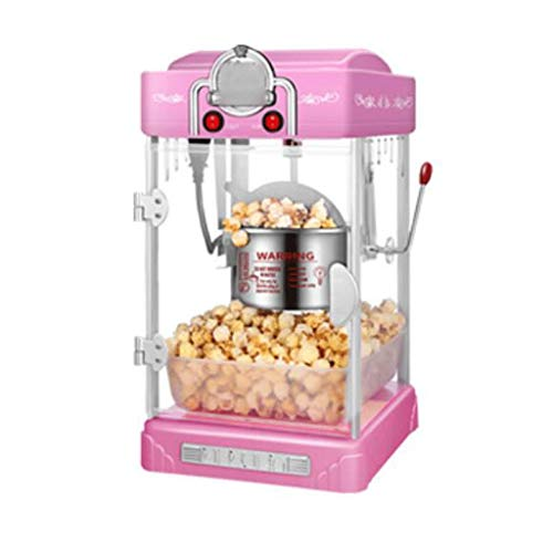LXX Vollautomatische Popcorn-Maschine Handkurbel Popcorn-Poppers praktisch schnelles leicht zu reinigendes Caramel-Schokolade (Color : Pink)