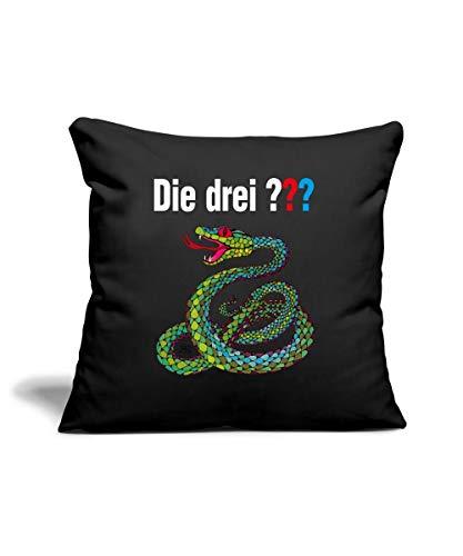 Spreadshirt Die DREI Fragezeichen und die singende Schlange Sofakissenbezug 44 x 44 cm, Schwarz