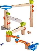 HABA 303964 - Kugelbahn – Grundpackung Marble Twister | Murmelbahn aus Holz mit Soundeffekt-Bahn, 2 Glöckchen und Container zum Auffangen der Murmeln | Spielzeug ab 4 Jahren