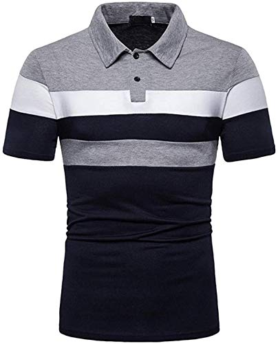 DamonRHalpern Mens Slim Fit T-shirt Contrast Color Stitching Stripe Short Sleeve Casual Polo Shirt Patchwork Personality Top Blouse
