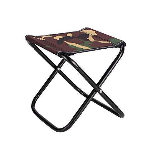 Taburete plegable para campamento al aire libre, plegable, ligero, para campamento, grande, con bolsa de almacenamiento, camuflaje