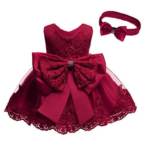Unbekannt Allence Baby Mädchen Bowknot Spitze Prinzessin Kleid 2tlg Set Bowknot Spitze Taufkleid Festlich Kleid Hochzeit Party Festzug Taufe Tutu Kleid 0-2 Jahre (6M/3-6 Monate, Wein)