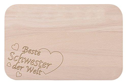 Desayuno/tabla de desayuno con grabado Mejor Hermana del Mundo como regalo–de madera–Idea regalo ideal para cumpleaños o Navidad