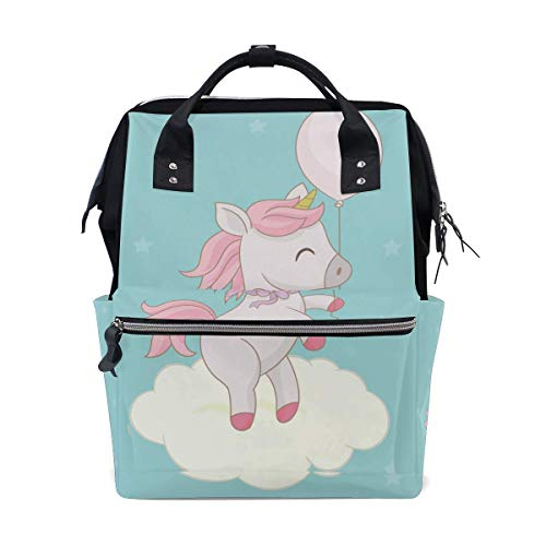 Beauty Unicorn Balloon Dot Diaper Bag Mom Dad Travel Backpack Multifunction Waterproof Canvas Large Capacity Baby Bag Maternity Nappy Bags For Baby Care