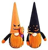 ZYuan Peluche Gnomos Halloween, 2 Piezas Decoración Mesa Fantasma Santa Tomte Hecha A Mano, Figura Muñeca Sin Rostro con Sombrero Bruja Calabaza