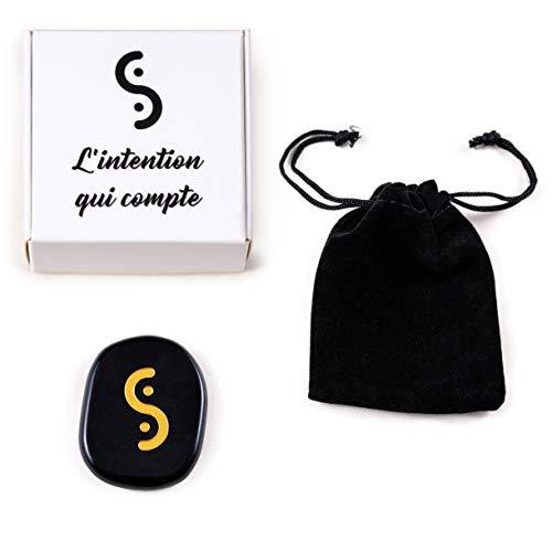 Obsidiana natural grabada - Piedra protectora del amuleto de la suerte - Amuleto