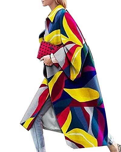 YAOTT Gabardina larga estampada para mujer Gabardina retro personalizada Abrigo suelto con manga de murciélago Gabardina de lana sintética Chaqueta de transición Cárdigan elegante Color12 5XL