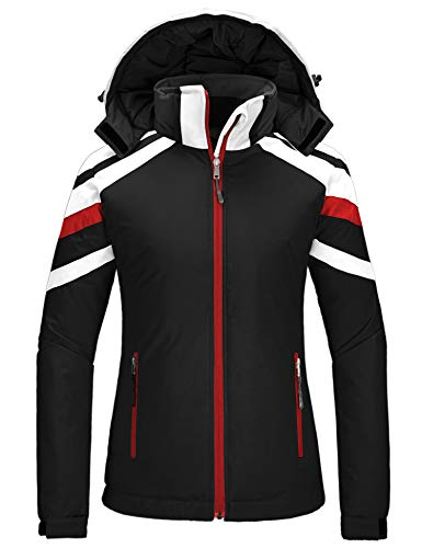 Wantdo Women's Waterproof Winter Ski Coat Snowboard Jacket Hiking Raincoat Black Large