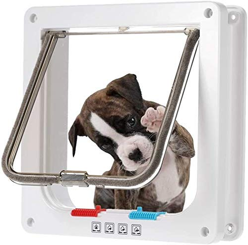 Pet Flap, kattennet for Upvc Doors hond de deur Kleine Midden-4-way Locking Kattendeur Wall Mount huisdier deur for huisdieren veilig met weerbestendige Borstel Sealed Flap L 8bayfa (Color : L)