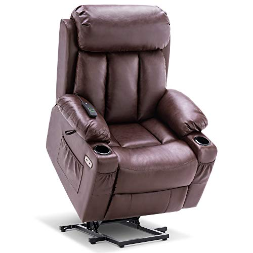 Mcombo Large Electric Power Lift Recliner Chair with Extended Footrest for Big and Tall Elderly People, Hand Remote Control, Lumbar Pillow, Cup Holders, USB Ports, Faux Leather 7426 (Dark-Brown)