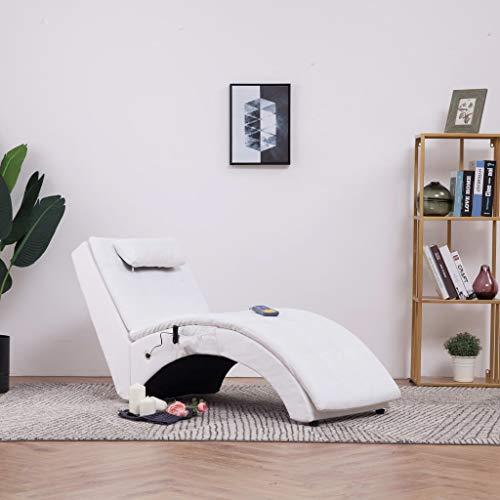 Festnight- Massage Relaxliege mit Kissen | Wohnzimmer Liegesessel | Modern Relaxsessel | Liegestuhl | Sofaliege | Polsterliege | Weiß/Grau Kunstleder und Holzrahmen mit Stahlbeine 145 x 54 x 72 cm