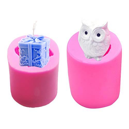 Nsiwem Stampi Candele 2 Pezzi 3D Candela Silicone Soap Making Stampo Sapone Stampo Candela Stampi in Silicone Cake Decorating Fondente Cottura Stampo per Candele Fai da Te