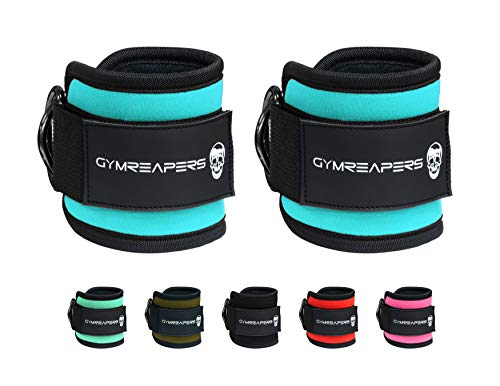 Gymreapers Ankle Straps (Pair) for Cable Machine Kickbacks, Glute Workouts, Lower Body Exercises - Adjustable Leg Straps with Neoprene Padding (Cyan, Pair)