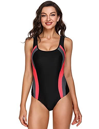 Sykooria Damen Sport Badeanzug Einteiler Swimmsuit Push Up Bauchweg Schwimmanzug Racer Back Bademode mit Polsterung Rot grau schwarz L