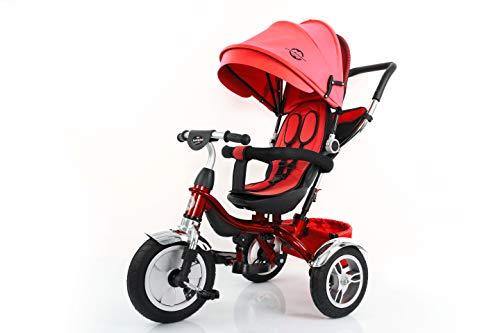 Little Bambino 4 in 1 Triciclo Passeggino con Parasole per Bambini da 1 a 6 Anni di età | Triciclo e Bici a Spinta con Maniglia | Bici a Tre Ruote con Ruote in Gomma (Blu)