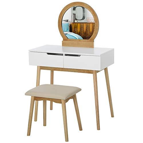 HOMCOM Dressing Table & Stool Set w/Drawers Mirror Modern Elegant Vanity Makeup Padded Seat Home Bedroom Beauty Furniture Natural Brown