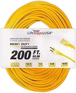 14/3 200ft SJTW Full Copper 15 Amp 125 Volt 1625 Watt Lighted End Indoor/Outdoor Extension Cord (200 feet) by LifeSupplyUSA