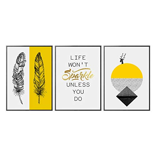 Preisvergleich Produktbild Wwjwf Nordic Abstract Gelb Weiß Leinwand Malerei Poster Und Drucke Minimalistisches Dekor Wandkunst Bilder Für Wohnzimmer Schlafzimmer Hd-50X70Cmx3-Kein Rahmen