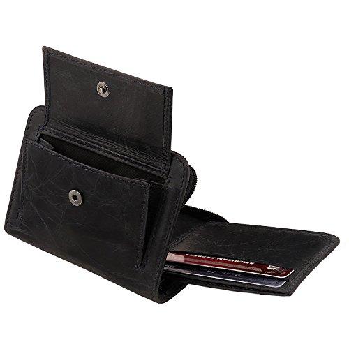 Otto Angelino RFID Schutz Herren Bifold Doppel-Reißverschluss Geldbörse -Italienisches Rindsleder - Schlanker Reisekomfort - Kreditkartenhalter mit transparentem ID Slot - Snap Back Münzenhalter